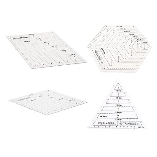 Baoblaze 4er Set Quilt-Lineal Schablone Steppschablone Vorlagen Lineal 60°/45° Diamant + Hexagon Form + 60° Dreieck