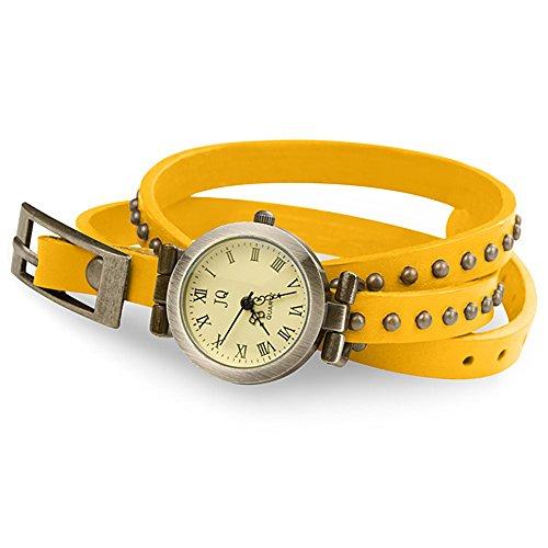 Taffstyle Vintage Damen-Armbanduhr Wickeluhr Leder Analog Vintage Designer Retro Look Uhr Wickelarmband Gelb Gold