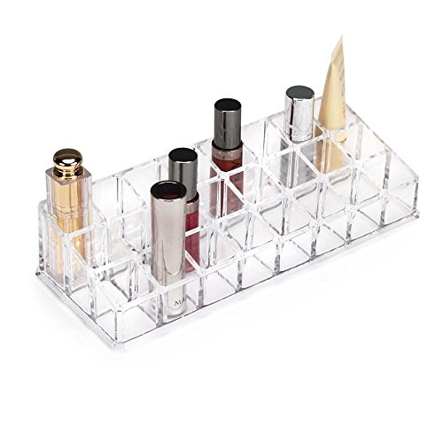 24 Compartment Luxurious Clear Acrylic Makeup Organiser Lipstick Holder Case