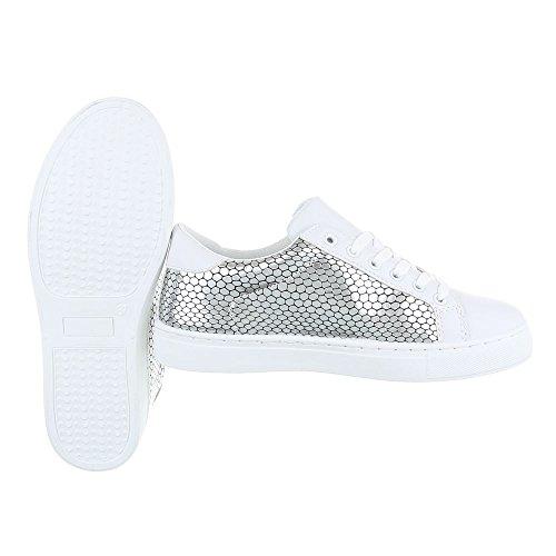 Ital-Design - Pantofole Donna Silber Weiß FC-S25