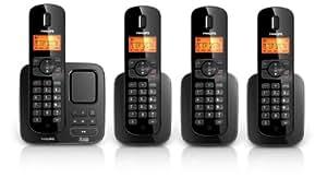 Philips CD1754B Téléphone sans fil avec répondeur 4 combinés Noir