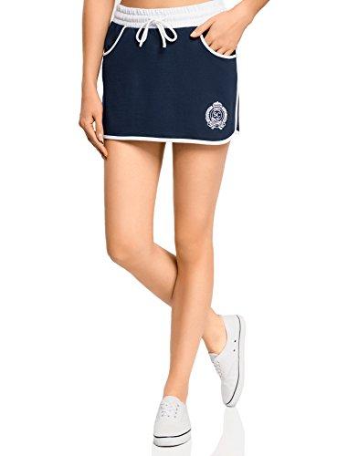 oodji Ultra Damen Jersey-Rock im Sport-Stil, Blau, DE 32/EU 34/XXS (Skort Outfit Rock)