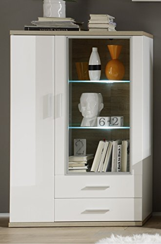 trendteam AR Wohnwand Wohnkombination Anbauwand | Weiß | Eiche Sägerau Hell | 425 x 199 cm | Inkl. LED Beleuchtung - 6
