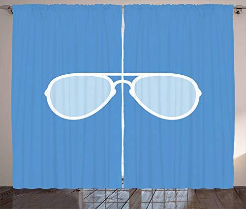 ABAKUHAUS Vintage Blue Rustikaler Vorhang, Aviator Sonnenbrille, Wohnzimmer Universalband Gardinen mit Schlaufen und Haken, 280 x 225 cm, Weiß und Blau