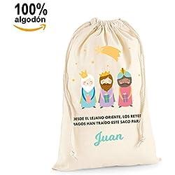 Saco para Regalos Reyes Magos Personalizable, 100% lona de algodón y Cierre con cordón (Tamaño XL, 75x50 cm) (Sin Personalizar)