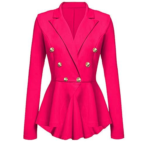 Mitlfuny Bekleidung&Accessoires,Damen Langarm Blazer Rüschen Schößchen Knopf Freizeitjacke Mantel Outwear - Baumwolle Ein-knopf-blazer