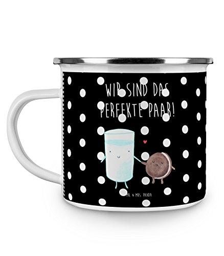 Mr. & Mrs. Panda Emaille Tasse Milch & Keks - 100% handmade in Norddeutschland - Kaffeebecher, Metalltasse, Cookie, Milk, Campingbecher, Camping, Becher, Milch, Kaffee, perfektes Paar, , Kekse
