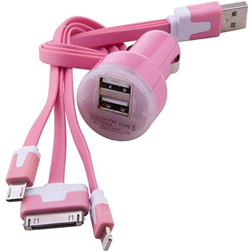 C.D.R. 3in1 Daten/Ladekabel Micro USB, 8 Pin und 30 Pin + Kfz Adapter für DOOGEE X5, DOOGEE Y100 PRO, DOOGEE Y100X, DOOGEE DG280 TIMMY E86, TIMMY M7, LANDVO L500, LANDVO L500S, SWEES, LENOVO A616, LENOVO A816, OUKITEL ORIGINAL ONE, OUKITEL ORIGINAL ONE DUAL SIM, OUKITEL U2, TAKWAK TW700 OUTDOOR, SAMSUNG GALAXY J1 j100H, BLACKBERRY P9982 PORSCHE 4 in 9 Farben erhältlich (pink)