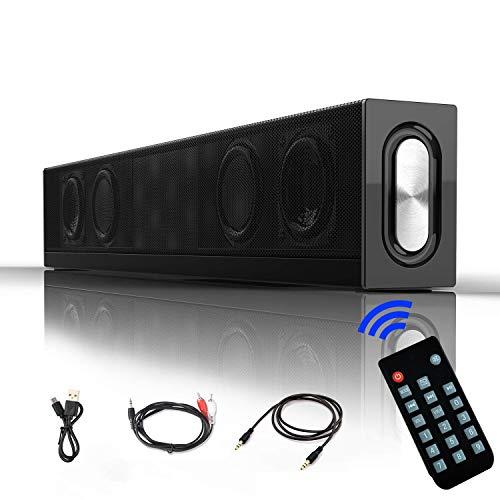 20W Soundbar Lautsprecher, Vier Treiber 18 Zoll Tragbarer 4.2 Bluetooth Speaker Soundbox mit 4500mAh Akku, Stereoanlage kabelgebundenes und kabelloses Heimkino für TV, Tablet, PC, Computer, Smartphone