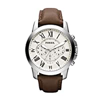 Fossil Grant Chronograph White Dial Brown Leather Watch for  Men  - FS4735