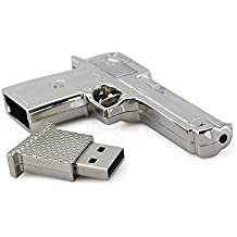 Shooo 32GB USB 2.0 Flash Drive Metal Revolver Gun High speed Memory Stick Pendrive,Silver