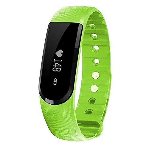 Qimaoo Pulsuhr Fitnessarmband Aktivitätstracker Uhrenarmband ID101 mit Herzfrequenzüberwachung und Blutetooth 4.0 Geeignet für Handy mit Android 4.4 Oder darüber Sowie IOS 7.1 Oder Daüber