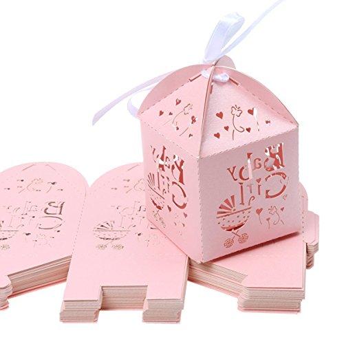 Candy Scrapbooking (Pixnor 50 Stück Laser geschnitten mit hohlen Beförderung Muster Candy Box Baby-Dusche Hochzeit Gunst Boxen (rosa))