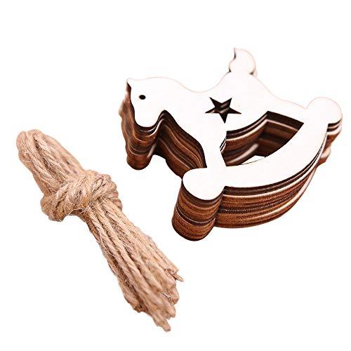 LoveLeiter 10 Stück DIY Holz Anhänger Ornamente für Weihnachtsbaum und Party Dekorationen Schlafzimmer Dekoration Weihnachten Mädchen...