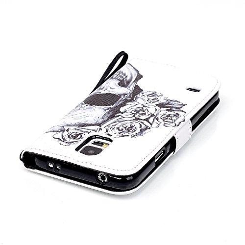 Meet de Samsung Galaxy S5 i9600 Bookstyle Étui Housse étui coque Case Cover smart flip cuir Case à rabat pour Galaxy S5 Coque de protection Portefeuille - this iphone is locked slide to unloke crâne