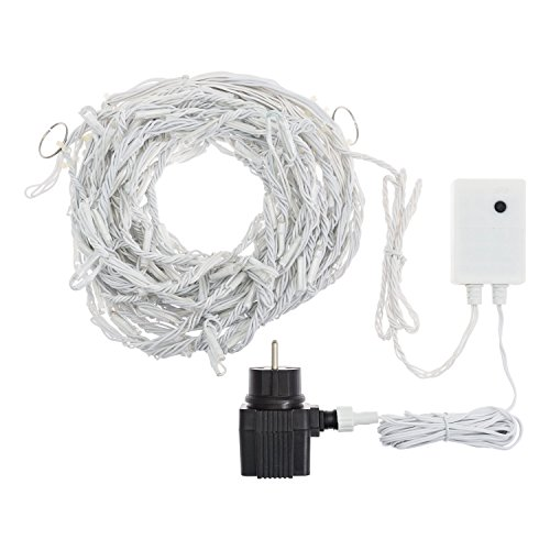 Xmas King Estalactitas Efecto Copos de Nieve 3 x 0,8 m, 192 LED luz fría, cableado Blanco, Cortinas de Luces, Adornos navideños, Luces de Navidad