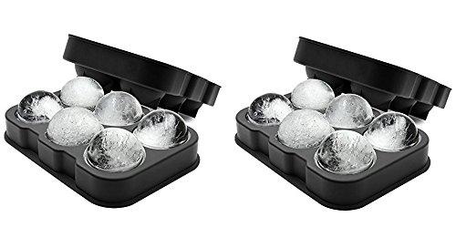 XXL-Eiskugelform für 6 Eiskugeln mit 4,5 cm Durchmesser aus Silikon - Eiswürfelform, Eisform, Eiskugel, Ice Ball Mold, Silikon-Eiswürfelform, Sphere Silikon-Eis-Maker ... (Doppelpack) -