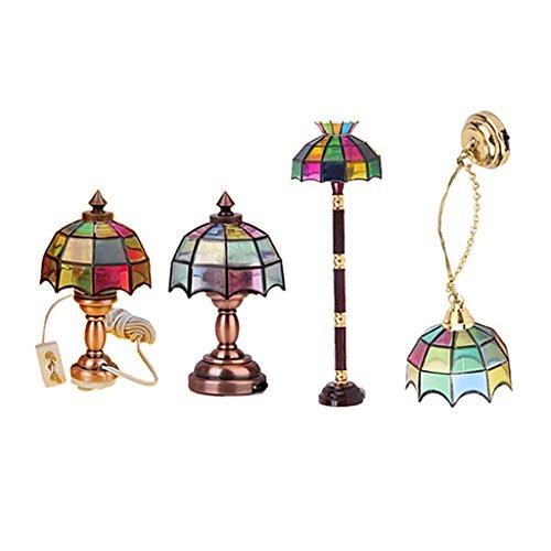 Toygogo 1/12 Miniatur Farbige Lampe Puppenhaus Möbel LED Beleuchtung Zubehör 4 Stück Set