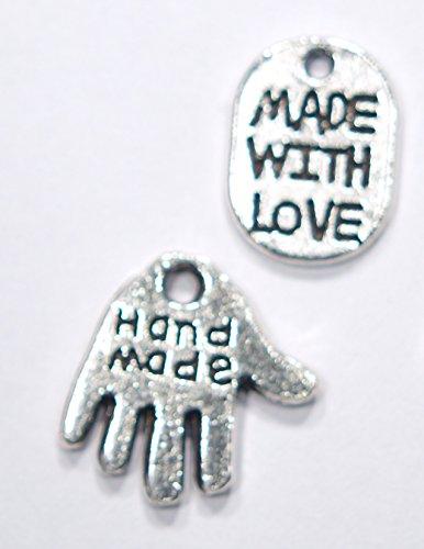 Hand made Anhänger 30 Stück im 2 er Mix Händchen & Ovale silber Charms DIY