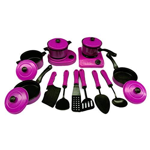 Rolanli Lot de 13 Dinette Enfants Plastique des Jouets de Vaisselle Ensemble Educatif Précoce pour Enfants - Violet