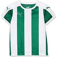 Puma Niños Camiseta a Rayas de Manga Corta, Infantil, Color Verde y Blanco, tamaño 164