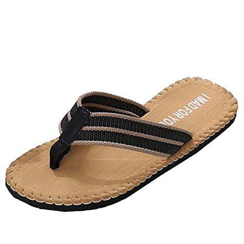 (Yvelands Herren Slipper Sandalen Sommer Strand atmungsaktive Schuhe männlich Flip-Flops Flache Schuhe(Gelb,))