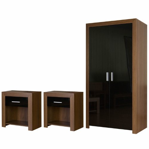Bedroom Furniture Set Black Gloss Walnut Wardrobe and Bedside Tables Set