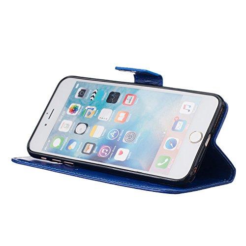 Qiaogle Téléphone Coque - PU Cuir rabat Wallet Housse Case pour Apple iPhone 7 (4.7 Pouce) - TX22 / Couple Pissenlit (Bleu) TX23 / Couple Pissenlit (Violet)