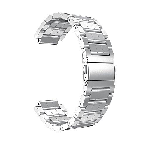 MYQyiyi myqyiyi Edelstahl-Armband Smartwatch für Garmin vivoactive (Silber)