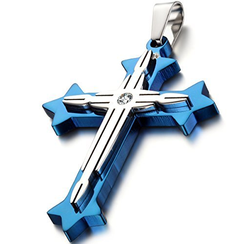 oidea-mens-stainless-steel-blue-silver-double-cross-pendant-necklace-chain-includedwith-gift-bag-by-
