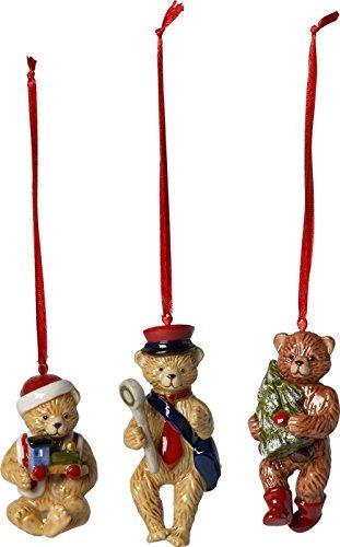 "Villeroy & Boch Nostalgic Ornaments Baumschmuck ""Teddy"", 3er Set, Porzellan, Bunt"