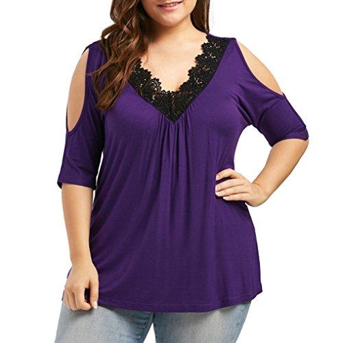 OYSOHE Damen Tops, Plus Größe Spitzenbesatz V-Ausschnitt Cold Shoulder trägerlosen Bluse T-Shirt (Kleid Bestickt Baumwolle Trägerlosen)