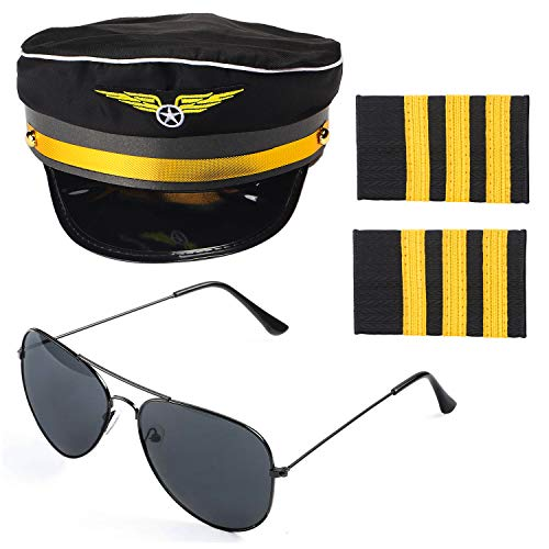 Beelittle Airline Pilot Captain Kostüm-Set Pilot Dress up Zubehör-Set mit Aviator-Sonnenbrille (A) (Flieger Kostüm Hut)