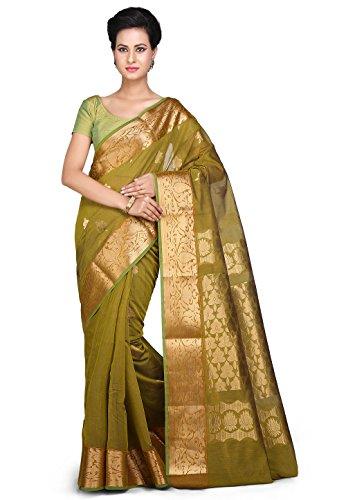 Woven Silk Cotton Chettinad Saree in Olive Green Olive Green Silk Saree