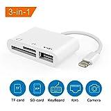 Lightning vers SD/TF, Lecteur de Cartes 3 en 1 Lightning vers USB Adaptateur kit de Connexion...