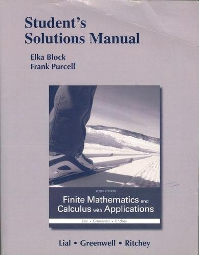 Student's Solutions Manual for Finite Mathematics and Calculus with Applications PDF Books