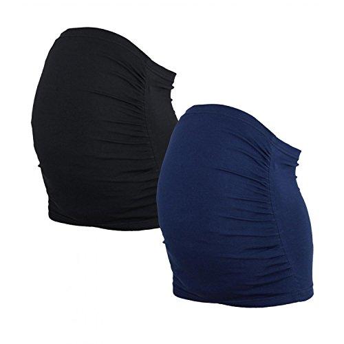 Alkato Damen Schwangerschaft Bauchband Baumwolle 2er Pack, Farbe: Dunkelblau/Schwarz, Größe: S