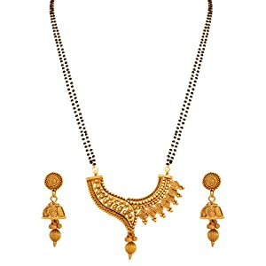 Jfl – Jewellery For Less Traditional Ethnic One Gram Gold Plated Spiral Mangalsutra Jewellery Set With Earring For Women