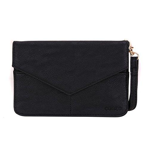 conze de femmes d'embrayage portefeuille tout ce sac avec bretelles pour Smart Téléphone pour Blu Studio C/HD/Super Appareil photo gris noir