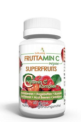 Fruttamin C - 6 Superfoods-Superfruits bieten reines natürliches Vitamin C aus - Aroniabeeren, Hagebutte , Acerola, Goji Beeren, Acai Beeren, Sanddorn, optimal Bioverfügbar, Vegan, Natürlich ohne Magnesiumstearat, Füll- und Hilfsstoffe! Zelltuning