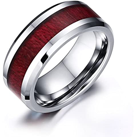 Vnox 8mm unici Mens Ragazzi carburo di tungsteno Red Koa anello della fascia di legno per aggancio di cerimonia nuziale Anniversario,Argento