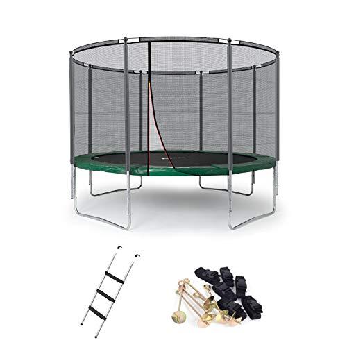 Ampel 24 Outdoor Trampolin 366 cm grün mit außenliegendem Netz, gepolsterten Stangen, Stabilitätsring, Leiter & Windsicherung, Belastbarkeit 160 kg