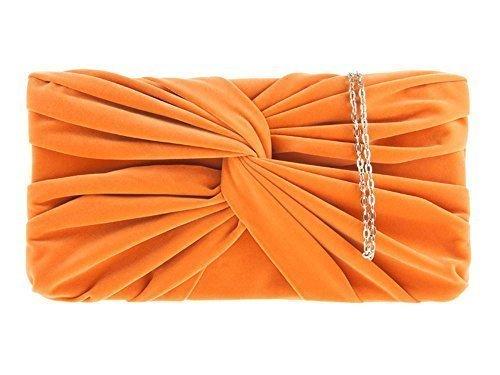 Ladies Knot Art Party In Pelle Scamosciata Plissettata Porta Sposa Avambraccio - Arancione, Arancio Medio
