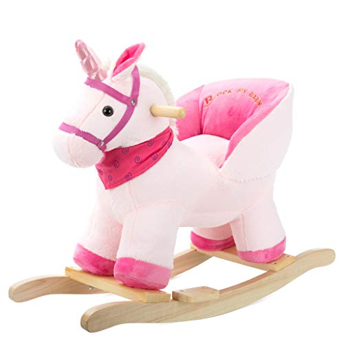 Schaukelpferd LINGZHIGAN Pferd Holz mit Musik Dual-Use-Baby Schaukel Wiege Schaukelstuhl Baby Alter Massivholz Geschenk (Farbe : No Wheel)