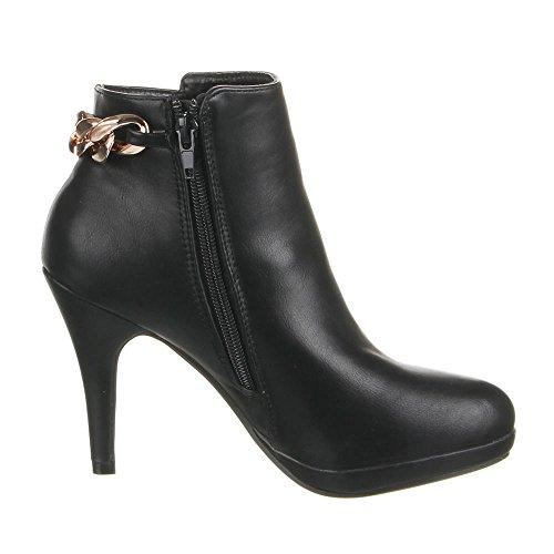 Damen Schuhe, F1-108, STIEFELETTEN Schwarz