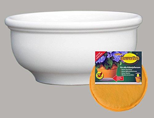 Hentschke Keramik Spar Set: Pflanzkübel + FlowerPad Ø 55 x 27 cm, weiß, 011.055.04 Blumenkübel für Draußen + Innen - Made in Germany