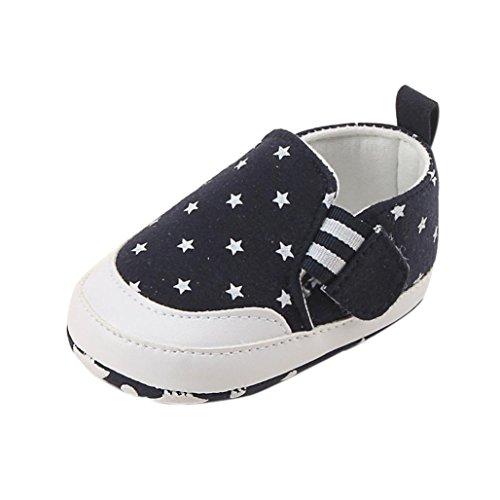 FNKDOR Baby Neugeborene Schuhe, Jungen Mädchen Weiche Lauflernschuhe Rutschfest (6-12 Monate, Navy)