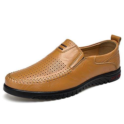 HILOTU Mocassino Casual per Uomo Hollow out Mocassino Traspirante Slip On Shoes Punta Antiscivolo Piatta Slip-on Collision Avoidance Punta Tonda (Color : Giallo, Dimensione : 38 EU)