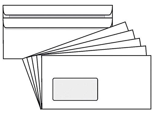 50 Stk. Briefumschläge DIN lang PLUS weiß mit Fenster selbstklebend (114 x 229 mm)