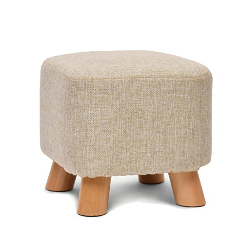 UUSSHOP Square Wooden Wood Support Upholstered Footstool Ottoman Pouffe Chair Stool Fabric Cover 4 Legs and Removable Linen Cover (Beige)